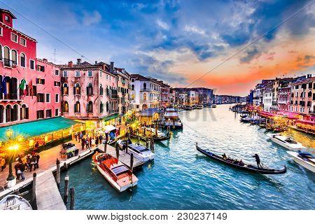 Venite, Italy  - Night Image With Grand Canal, From Oldest Bridge Rialto, Venezia.