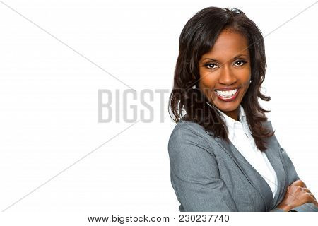 Confident African American Businesswoman Isolated On White.