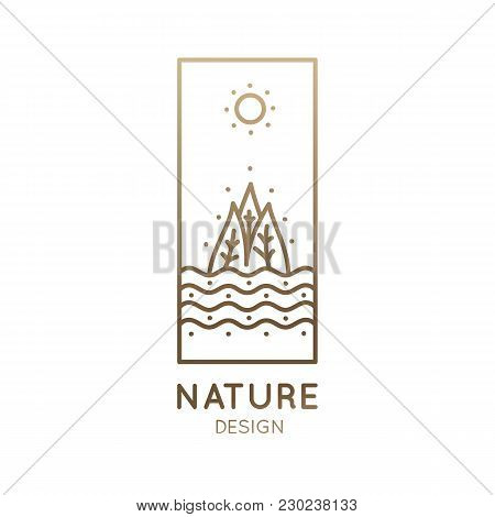 Vector Rectangular Logo Of Nature Elements. Linear Vertical Icon Of Landscape With Trees, River And