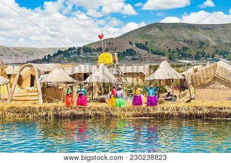 Titicaca Lake, Puno, Peru - March, 20, 2017. Uros Floating Islands On Titicaca Lake In Puno, Peru, S