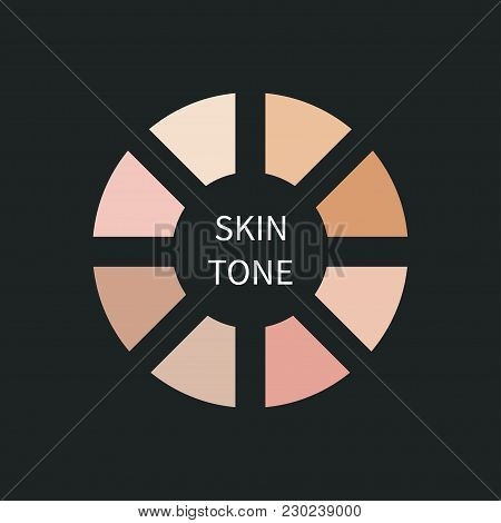 Pallet Skin Tone. Round Frame With Beige, Pink, Nude Shades Of Color. Vector Illustration