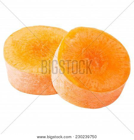 Isolated Carrot. Two Piece Of Carrots Isolated On White Background With Clipping Path As Package Des