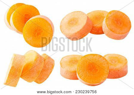 Isolated Carrot. Set Slices Carrots Isolated On White Background With Clipping Path As Package Desig