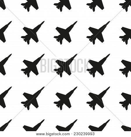 Plane Pattern. Seamless Jet Fighter Background. Vector Illustration.