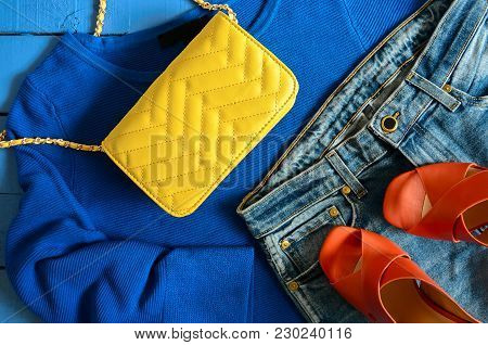 Womens Clothing, Accessories, Footwear (blue Blouse,  Leather Terracotta Shoes, Yellow Crossbody Bag
