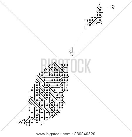 Abstract Schematic Map Of Grenada From The Black Printed Board, Chip And Radio Component Of Vector I