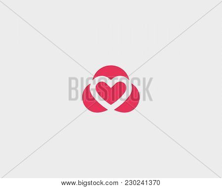 Abstract Heart Vector Symbol Logotype. Valentines Day Cardiology Logo Design.