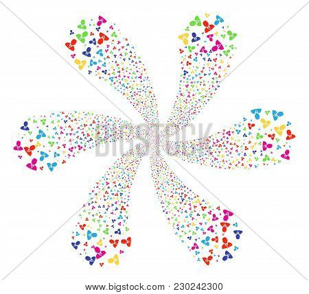 Colorful Manager Explosion Bang. Psychedelic Flower With Six Petals Designed From Scatter Manager It