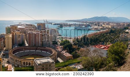 Malaga, Spain - December 17, 2017. Malaga City And Harbor Panorama, Malaga Port, Costa Del Sol, Spai