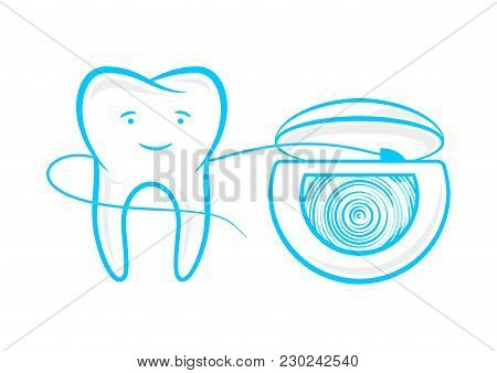 Tooth And Floss String Vector Illustration. Thread For Tooth Cleaning Hygiene, Flossing Graphic Desi