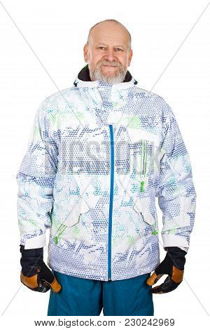 Handsome Elderly Man Holding Skis And Wearing Warm Ski Outfit On Isolated Background