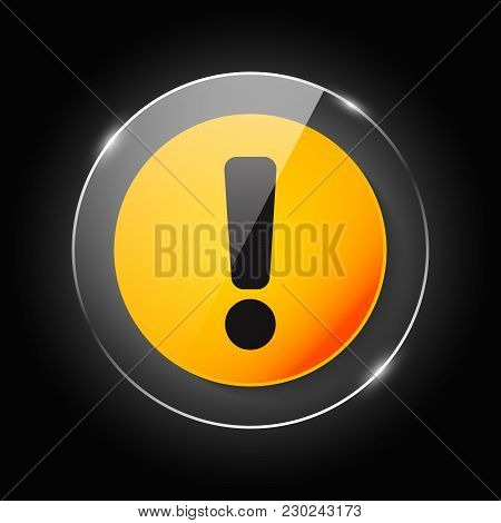 Yellow Round Glossy Warning Dangerous Attention Icon Icon, Danger Symbol, Filled Flat Sign, Solid Pi