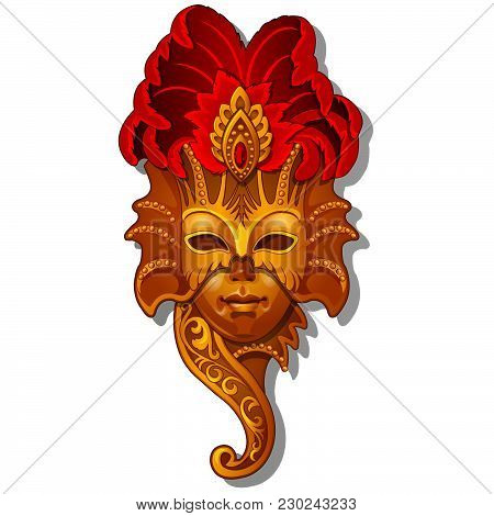 Golden Mask For Carnival Isolated On White Background. Vector Cartoon Close-up Illustration.