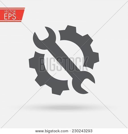 Service Tools Icon. Gear And Wrench Pictograph. Options And Settings Icon. Engineer Repair Of Equipm