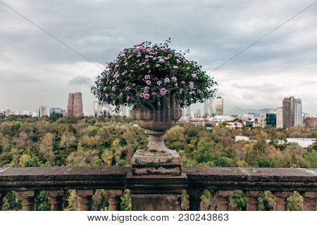 Stone Vase On The Railing Of The Old Staircase On The Background Of Mexico City. Mexico