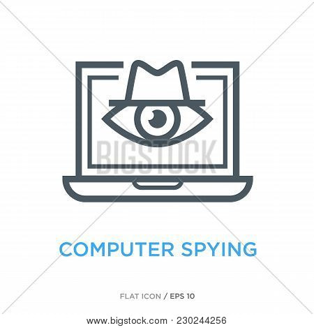 Eye Of Big Brother In Laptop As Computer Spying Symbol. Simple Line Flat Icon.