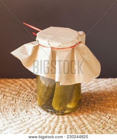 Homemade Organic Green Pickled Cucumbers. Pickles In A Glass Jar.