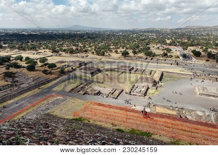 The Great Pyramid Of Sun And Moon, Views On Ancient City Ruins Of Teotihuacan Pyramids Valley, The R