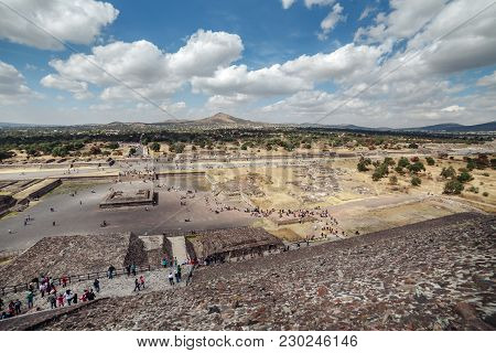 The Great Pyramid Of Sun, Views On Ancient City Ruins Of Teotihuacan Pyramids Valley, The Road Of De