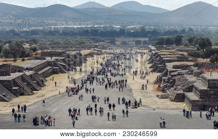 Tourists On The Road Of The Dead.teotihuacan. Mexico City. Mexico