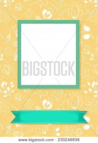 Floral Greeting Card. Graceful White Flowers And Plants With Drawing Effect. Green Frame And Banner