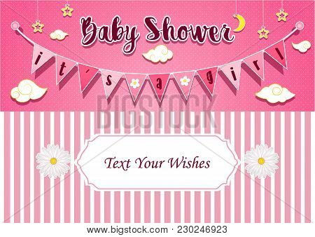 Vector Illustration Of Baby Girl Shower Invitation Card Design Template