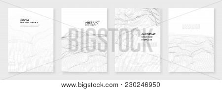 Minimal Brochure Templates. 3d Wavy Surface Grid Background. Technology Sci-fi Concept, Abstract Vec