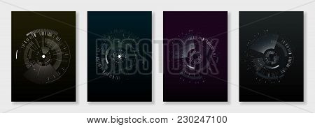 Minimal Brochure Templates. Elements On Dark Background. Technology Sci-fi Concept, Abstract Vector