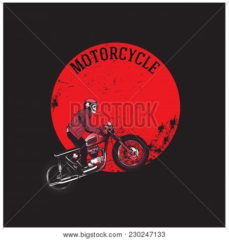 Motorcycle Man Riding Motorcycle Red Moon Background Vector Image