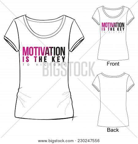 Vector Illustration Of Font Composition For T Shirt Design, Idea For Sport Wear. Lettering With Grad