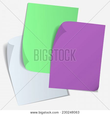 Set Of Color Blank Sheet Of Paper With Curved Corner And With Shadow On Transparent Background. Page