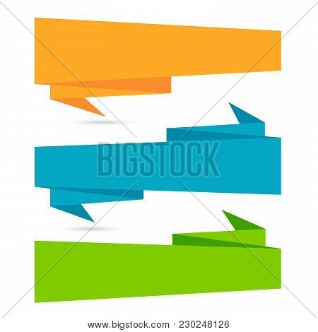 Origami Paper Infographic Colorful Banners Set. Annotation Ribbon. Advertising Design Shape. Speech
