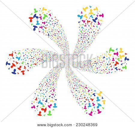 Multi Colored Person Explosion Fireworks. Hypnotic Flower With Six Petals Done From Random Person It