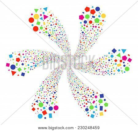 Colorful Geometric Figures Exploding Abstract Flower. Suggestive Curl Organized From Randomized Geom