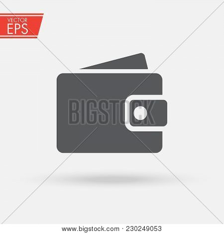 Wallet With Paper Money And Card In Flat Style. Wallet With Money Dollar Bank Note Flat Design Isola