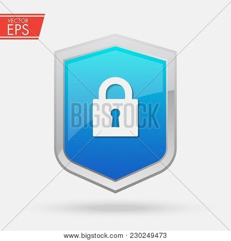 Shield Security Symbol. Abstract Security Vector Icon Illustration Isolated On Black Background. Shi