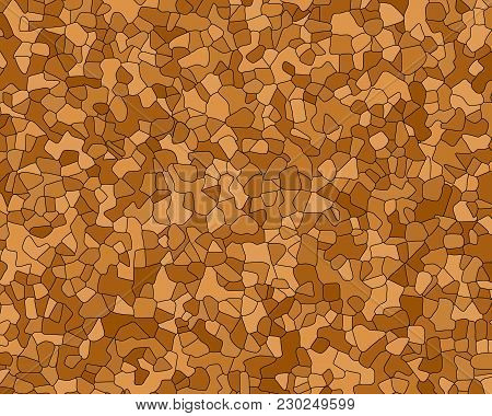 Vector Otlined Agglomerated Cork Texture. Natural Cork Oak Brown Colors Backdrop With Black Contour