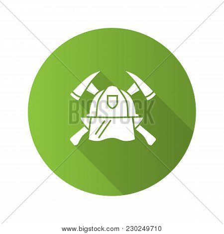 Firefighters Maltese Cross Flat Design Long Shadow Glyph Icon. Protection Helmet And Crossed Axes. F