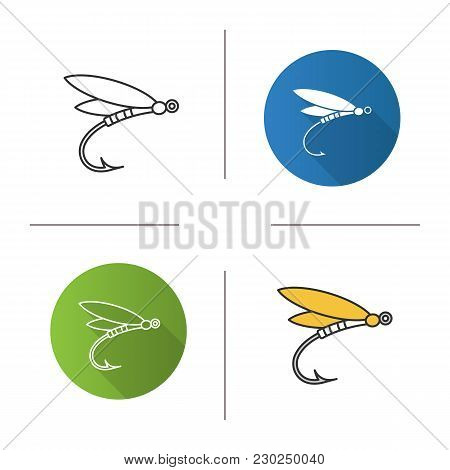 Fly Fishing Icon. Flat Design, Linear And Color Styles. Insect Bait. Dragonfly Lure. Isolated Vector