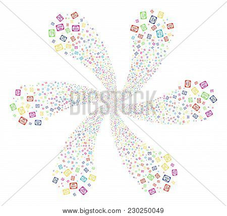 Multicolored License Spiral Flower Shape. Suggestive Cycle Combined From Scattered License Items. Ve