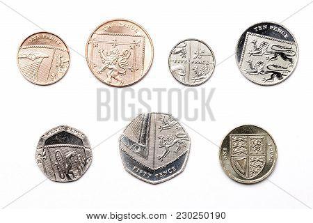 British Coins On A White Background - Pound