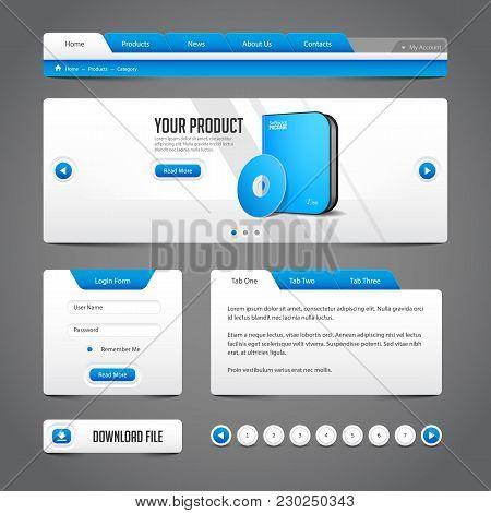 Modern Clean Website Design Elements Grey Blue Gray: Buttons, Menu, Navigation