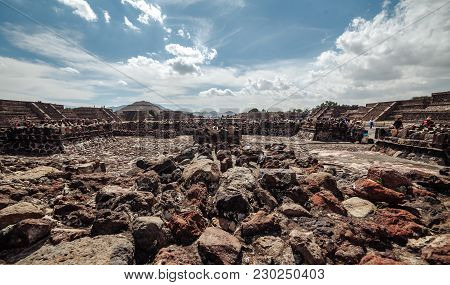 Close Up Of The Ruins In The Valley Near Piramyd Of The Sun. Teotihuacan. Mexico City. Mexico