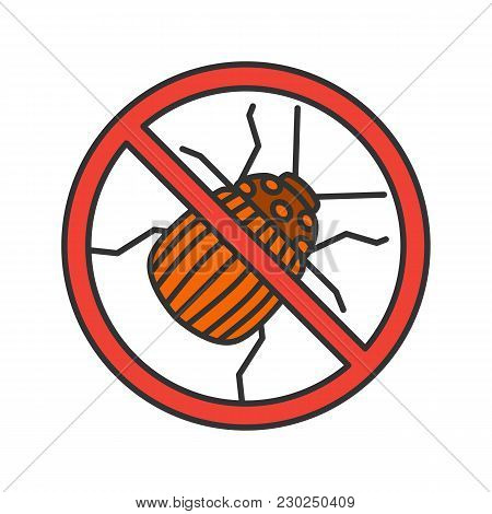 Stop Colorado Beetle Sign Color Icon. Insects Repellent. Pest Control. Isolated Vector Illustration