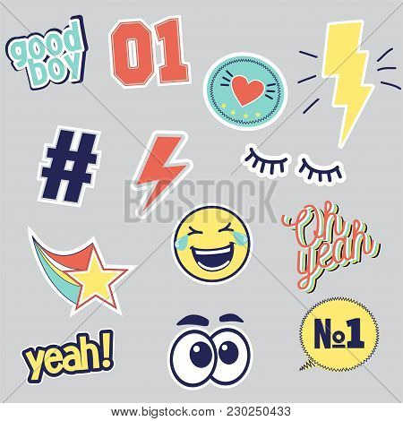 Vector Set Of Fashion Patches For T Shirt Print Isolated On Grey Empty Background. Smiley, Good Boy,
