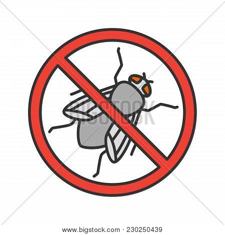 Stop Housefly Sign Color Icon. Flying Insects Repellent. Pest Control. Isolated Vector Illustration