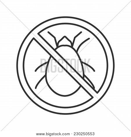 Stop Mites Sign Linear Icon. Parasitic Insects Repellent. Pest Control. Thin Line Illustration. Cont