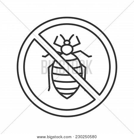 Stop Bed Bug Sign Linear Icon. Parasitic Insects Repellent. Pest Control. Thin Line Illustration. Co
