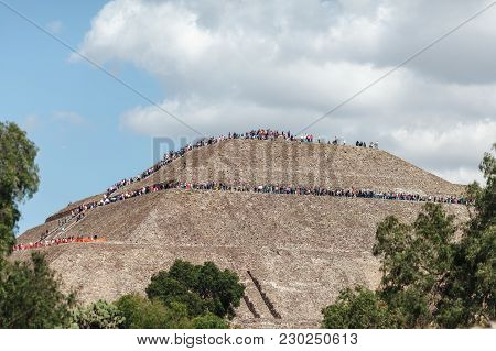 View On The Top Of The Piramyd Of The Sun. Teotihuacan, Mexico City. Mexico