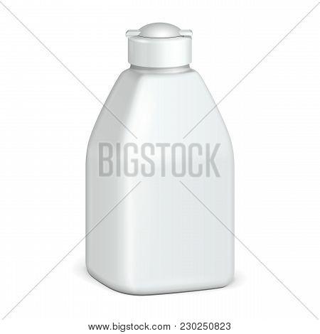 Cosmetic Or Hygiene Grayscale White Plastic Bottle Of Gel, Liquid Soap, Lotion, Cream, Shampoo. Read